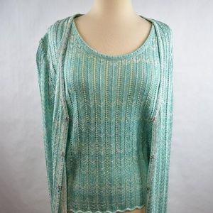 St John Knit 2Pc Sweater Set Sz L Tunic Shell